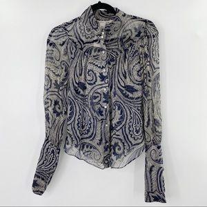 Diane Von Furstenberg paisley silk blouse size 6